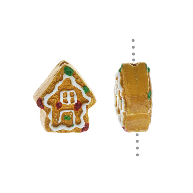 Hand Painted Ceramic Bead, Tiny Gingerbread House 13x11mm, Multi-Colored, 2 Pieces