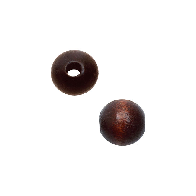 Smooth Wood Beads, Round with 8mm Diameter, 48 Pieces, Dark Brown