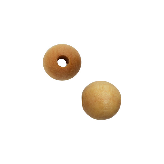 Smooth Wood Beads, Round with 8mm Diameter, 48 Pieces, Natural