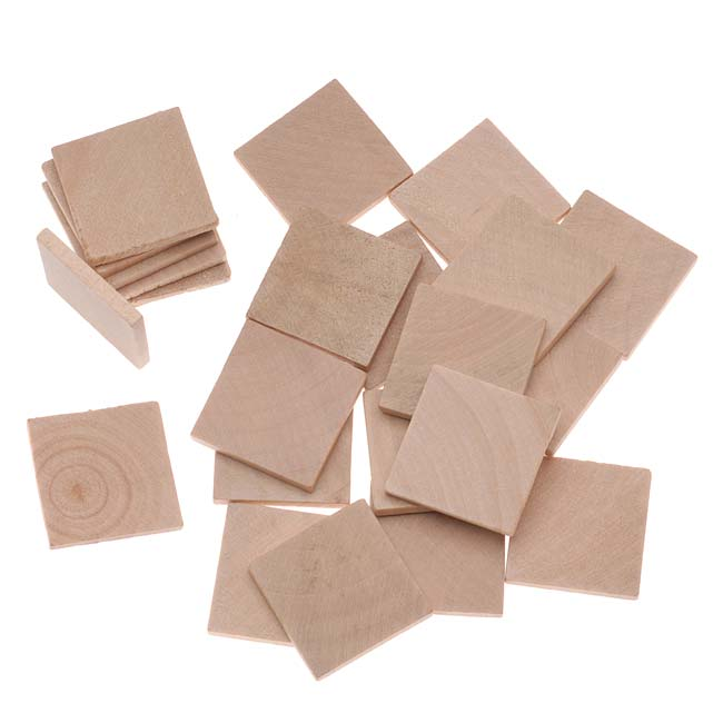 Natural Wood Square Collage Jewelry Pendant Tiles 25mm (1 Inch) 24 Tiles