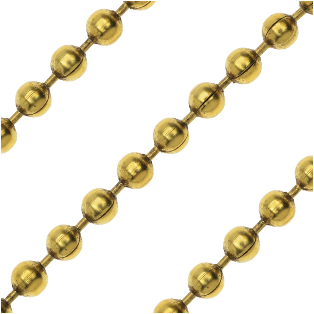 Antiqued Gold Plated Ball Chain Chain, 2mm, by Nunn Design, by The Foot