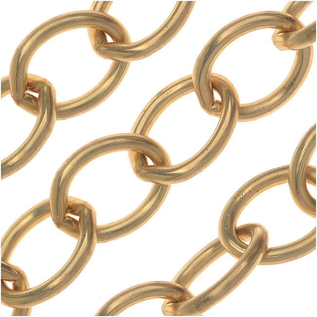 Vintaj Vogue Bulk Chain, Rounded Oval Cable Links 8.7mm, Sold By The Foot, Raw Brass