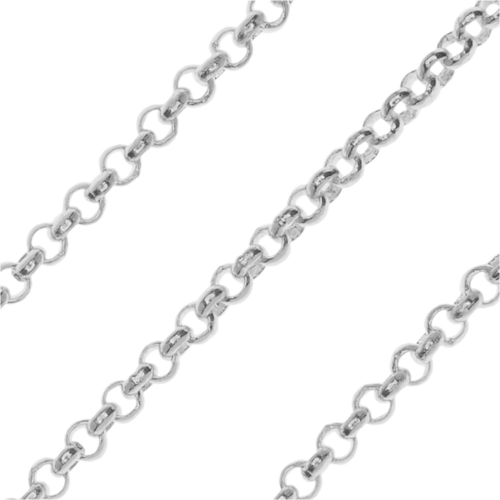 Silver Plated Rolo Chain, 2mm, by the Foot