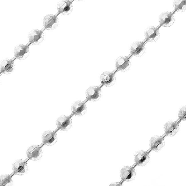 Silver Plated Faceted Ball Chain, 1.2mm, by Nunn Design, by the Foot