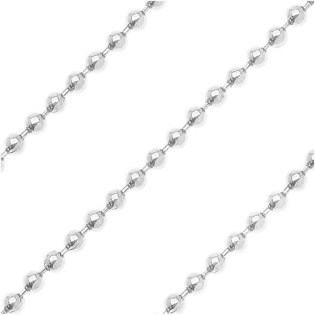 Silver Plated Ball Chain, 1.2mm, by the Foot