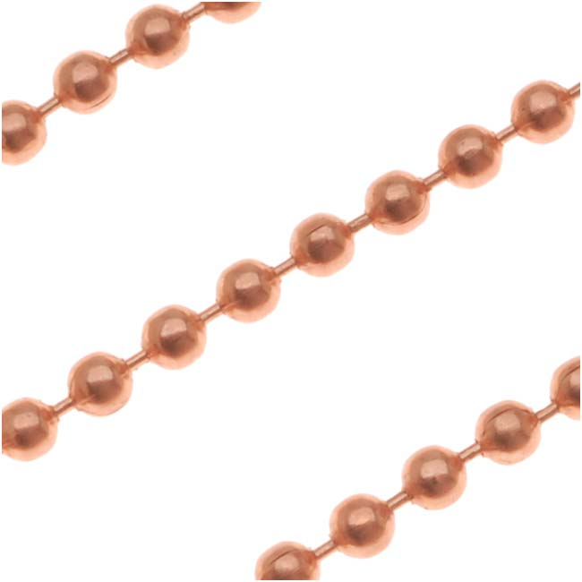 Copper Ball Chain, 2.4mm, by the Foot