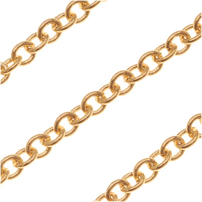 22K Gold Plated Cable Chain, 2.5mm, by the Foot