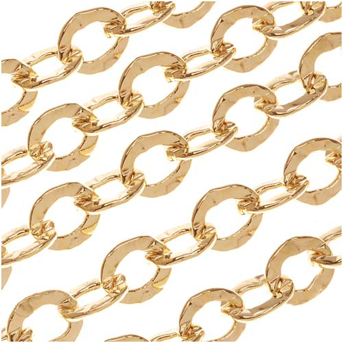 22K Gold Plated Hammered Cable Chain, 5.5mm, by the Foot