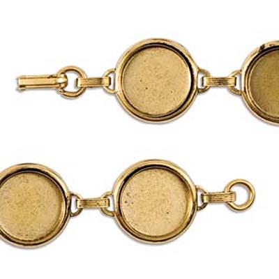 Nunn Design Antiqued Gold Plated Collage Bracelet Lrg 18mm Round -7.5Inch