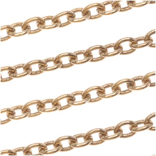 Antiqued 22K Gold Plated Oval Cable Chain, 2mm, by the Foot