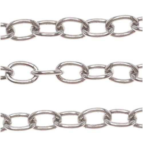 Antiqued Silver Plated Cable Chain, 3mm, by the Foot
