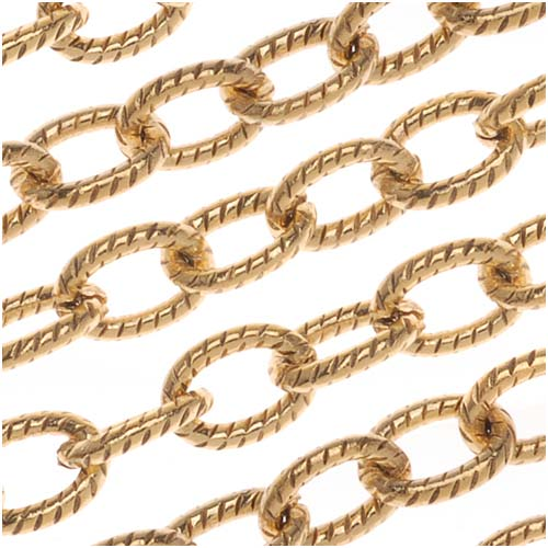 Nunn Design Antiqued Gold Plated Textured Cable Chain, 4mm, by the Foot
