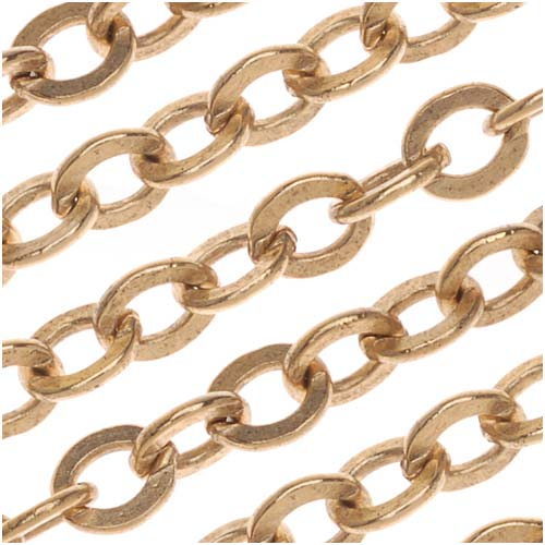 Nunn Design Antiqued Gold Plated Flat Cable Chain, 3.6mm, by The Foot