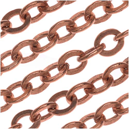 Nunn Design Antiqued Copper Plated Flat Cable Chain, 3.6mm, by The Foot