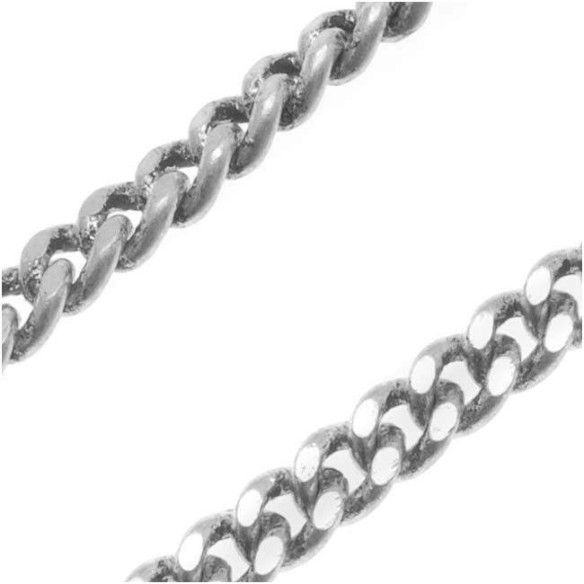 Final Sale - Antiqued Silver Plated Filed Curb Chain, 3.5mm Links, by the Foot