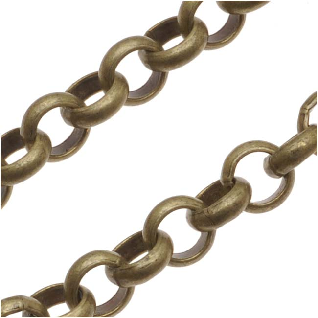 Antiqued Brass Rolo Chain, 4.8mm, by the Foot