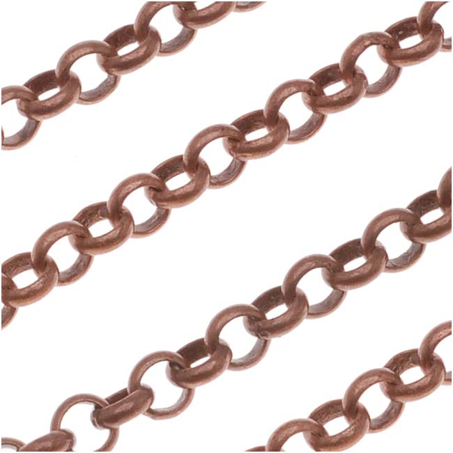 Antiqued Copper Plated Rolo Chain, 3.7mm, by the Foot