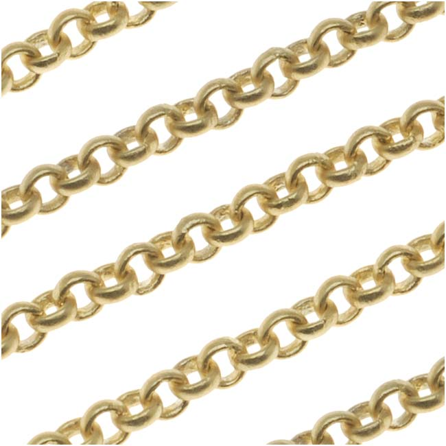 Matte Gold Plated Rolo Chain 3mm by the Foot