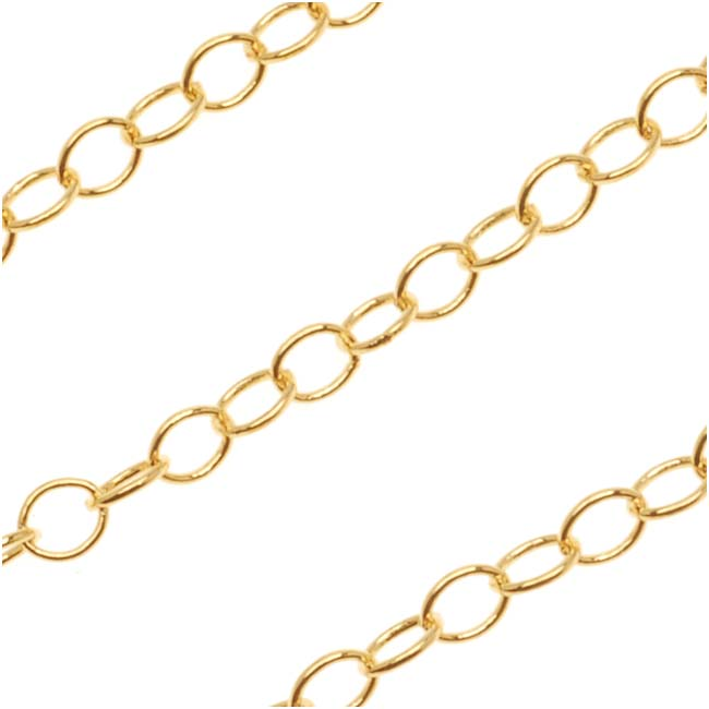 Gold Plated Cable Chain, Circle Link 3mm, by the Foot