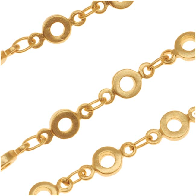 Matte Gold Plated Bubble Circle Chain, 4.3mm, by the Foot