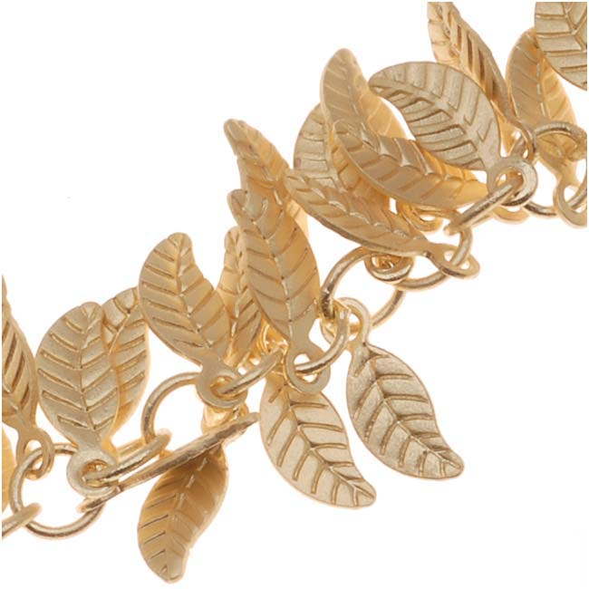 Charm Chain, Leaf 7mm, Matte Gold Plated, Cut to Order, by the Inch