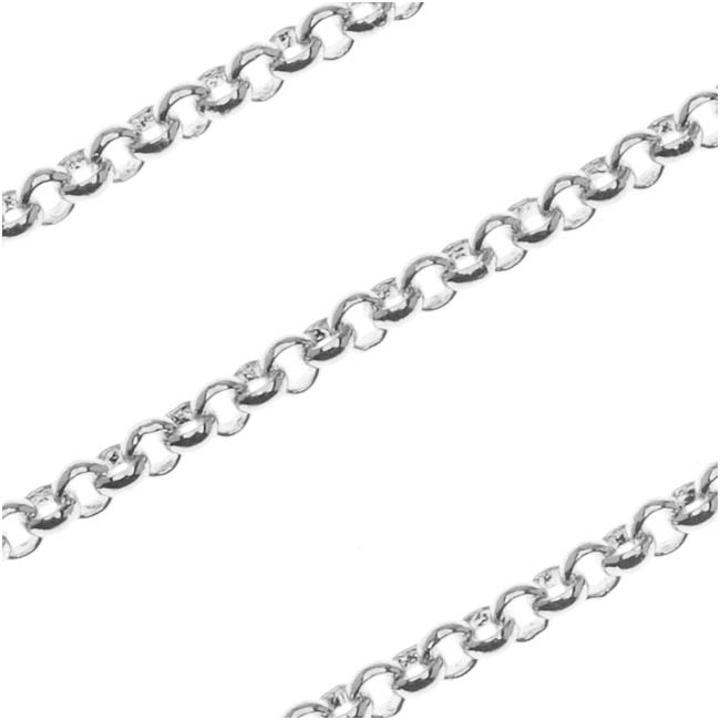 Antiqued Silver Plated Rolo Chain, 2mm, by the Foot