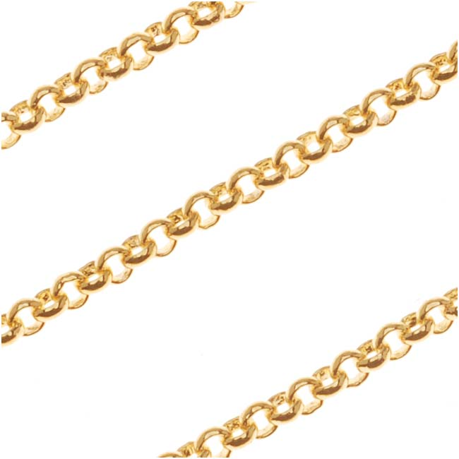 22K Gold Plated Fine Rolo Chain, 2mm, by the Foot