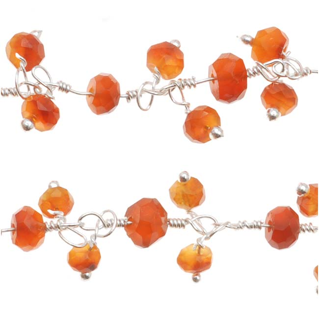 Wire Wrapped Gemstone Chain, Carnelian 4mm Rondelles, Sterling Silver, by the Inch