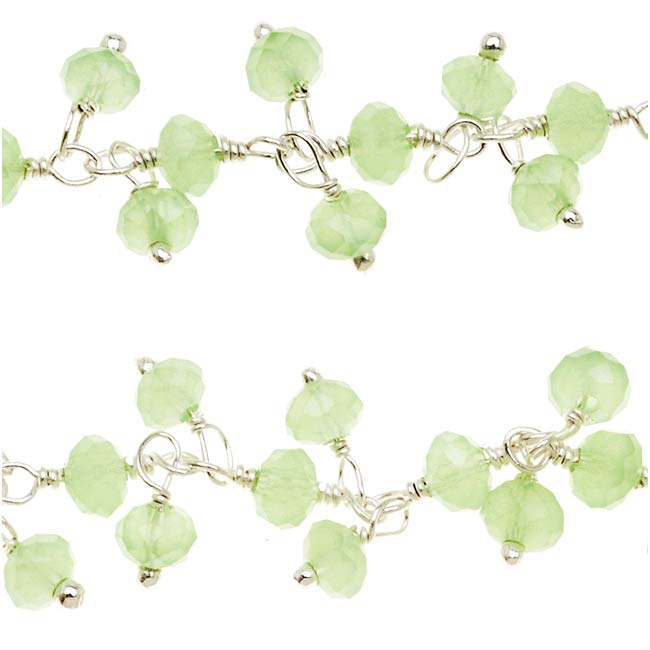 Wire Wrapped Gemstone Chain, Green Chalcedony Rondelles 3.5mm, Sterling Silver, by the Inch