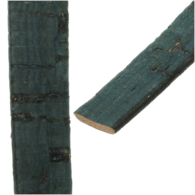 Flat Portuguese Cork Cord by Regaliz, 10x1.5mm, Dark Teal, by the Inch