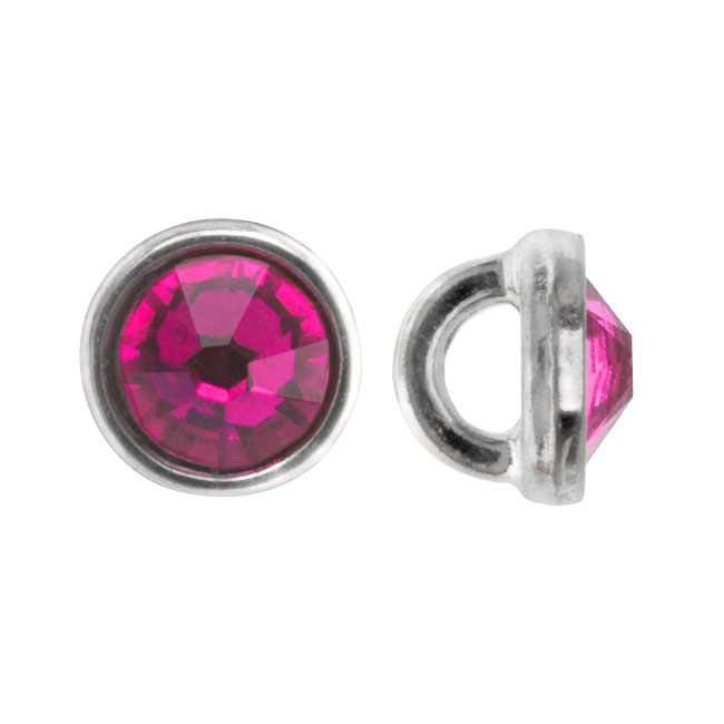 Crystaletts Swarovski Crystal Buttons, Rhinestone 3mm, 20 Pieces, Rhodium Plated/Fuchsia