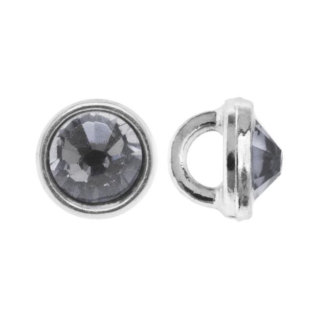 Crystaletts Swarovski Crystal Buttons, Rhinestone 3mm, 20 Pieces, Rhodium Plated/Black Diamond