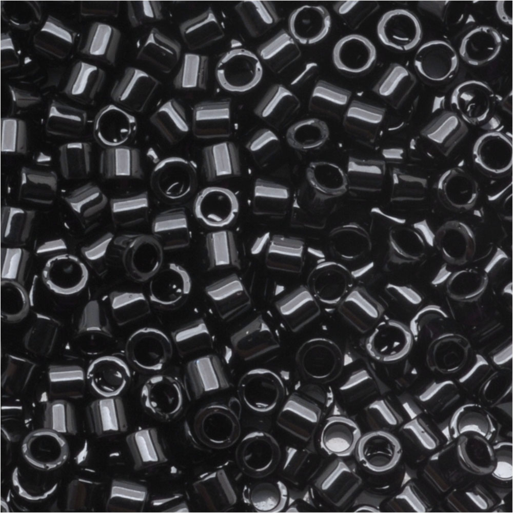 Miyuki Delica Seed Beads, 10/0 Size, 7.2 Grams, Opaque Black DBM0010