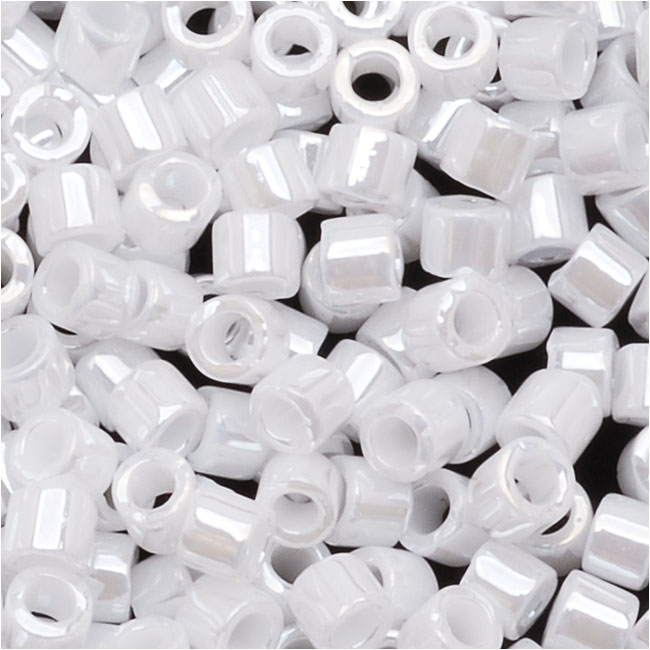 Miyuki Delica Seed Beads, 10/0 Size, 8 Grams, Opaque White Pearl DBM0201
