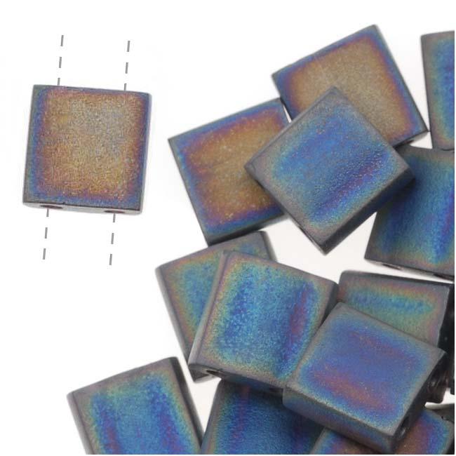 Miyuki Tila 2 Hole Square Beads Matte Black Ab 7.2Gr