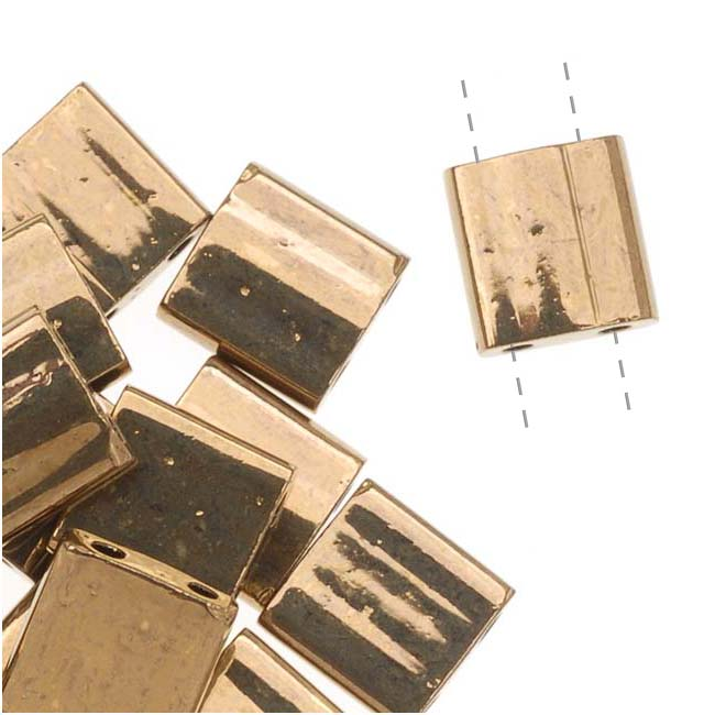 Miyuki Tila 2 Hole Square Beads Dark Bronze 7.2 Grams