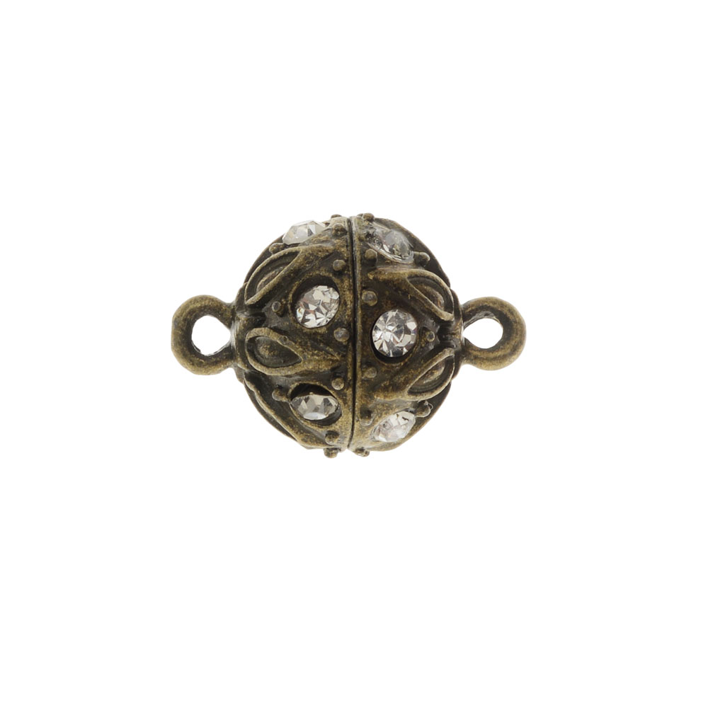 Magnetic Clasp, Sphere with Drop Pattern 19x12.5mm, 1 Set, Antiqued Bronze Tone