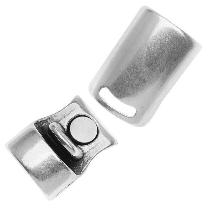 Antiqued Silver Plated Curved Magnetic Clasp/Cord  Ends For Regaliz 10mm Rubber Cord
