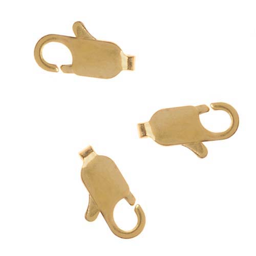 22K Gold Plated Straight Lobster Claw Clasps 9mm (10)