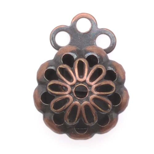 Antiqued Copper Plated Three Strand Box Clasp Filigree Flower 9mm X2