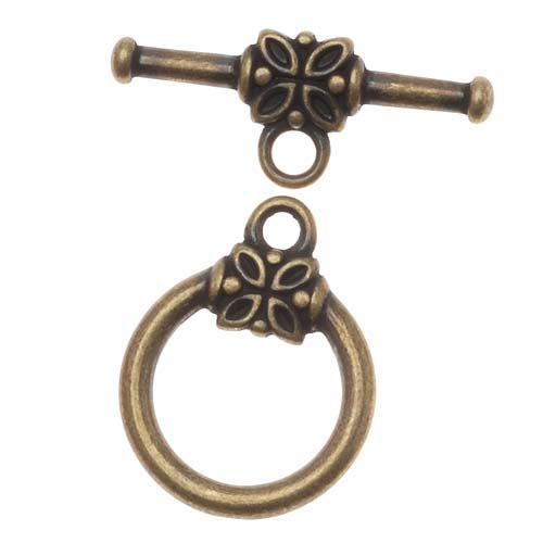 Antiqued Brass Flower Toggle Clasps 14mm (4 Sets)