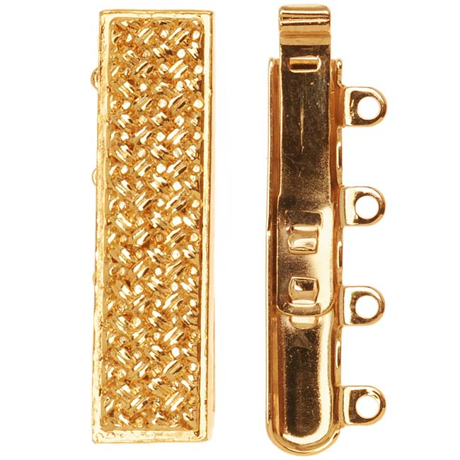 23K Gold Plated 4-Strand Box Clasp - Rectangle With Crosshatch Design 10x25mm (1)