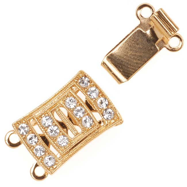Gold Plated 2-Strand Box Clasp - Rectangle With Swarovski Crystals