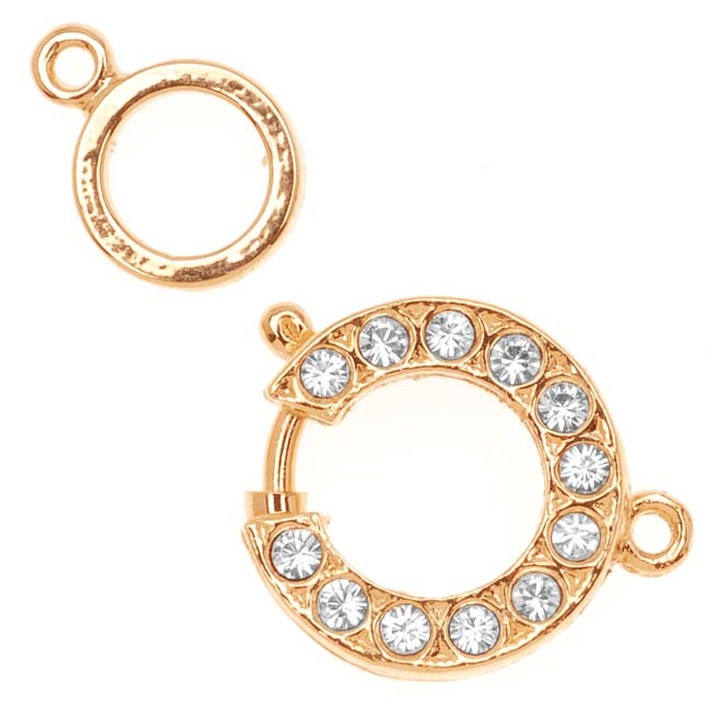 Gold Plated Spring Ring Clasp Set With Swarovski Crystals