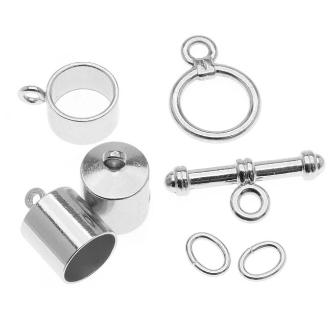 The Beadsmith Silver Plated Barrel Findings Kit For Kumihimo Braids - Fits 8mm Cord