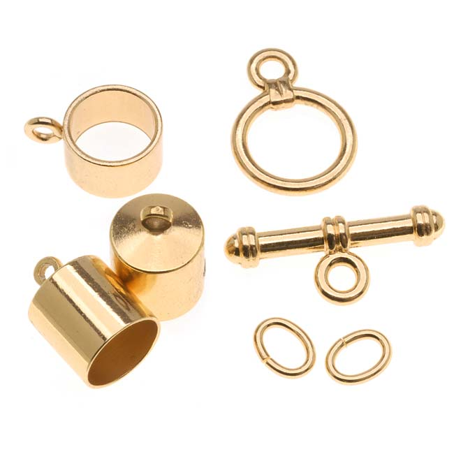 The Beadsmith Gold Plated Barrel Findings Kit For Kumihimo Braids - Fits 8mm Cord