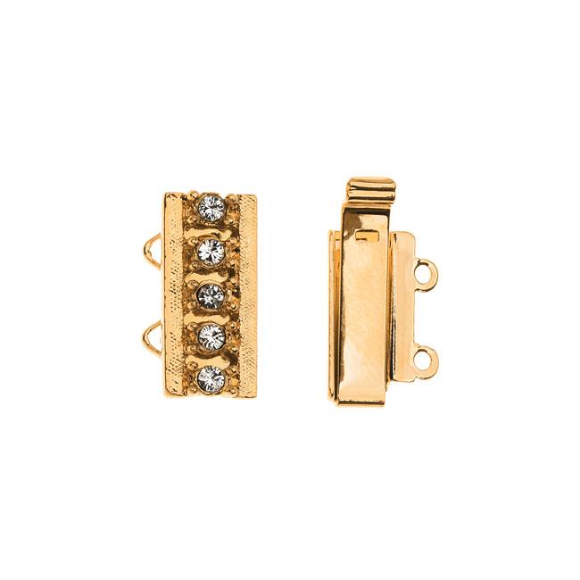 Elegant Elements, 2-Strand Box Clasp with Swarovski Crystals 16x10mm, 1 Set, Gold Plated