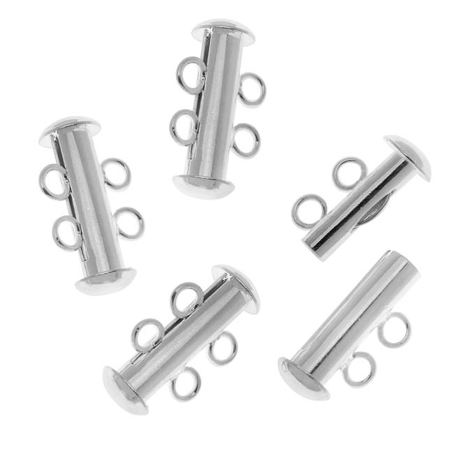 Silver Plated Tube Clasp 16.5mm Two Rings Strands (4)