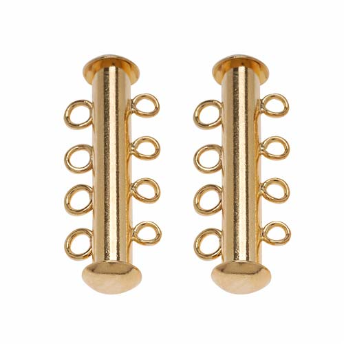 22K Gold Plated Tube Clasp 26mm Four Rings Strands (2)