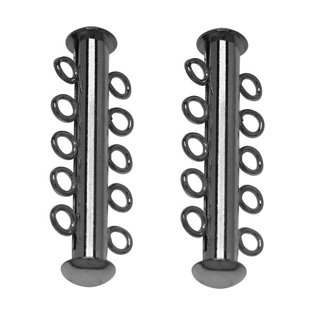Gun Metal Tone Tube Clasp 31mm Five Rings Strands (2)